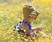 Ruffle Sun Bonnet for Baby Girls in Gold Cotton