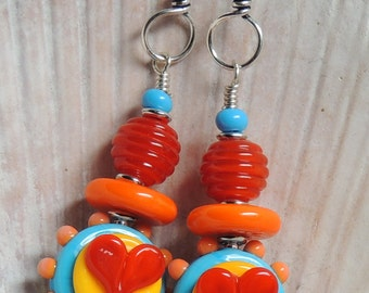 FUNKY HEARTS 3 Handmade Lampwork Dangle Earrings