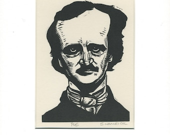 Edgar Allan Poe greeting card, ready to frame