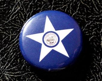 """1"""" Houston TX flag button - Texas, city, pin, badge, pinback"""