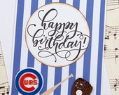 Chicago Cubs Birthday Card, Handmade Cubs Birthday Card, Baseball Birthday Card, Cubs Birthday Greeting Card, 3D Birthday Card, Card for Him