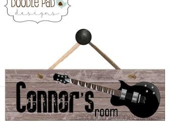 Personalized Guitar Art Rock N' Roll Door Sign,