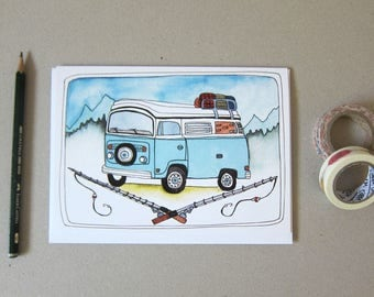Father's Day Card - Camping Father's Day Card - Card for Dad - Camping Card for Dad - Camping Bus Card - Van Adventures Father's Day Card