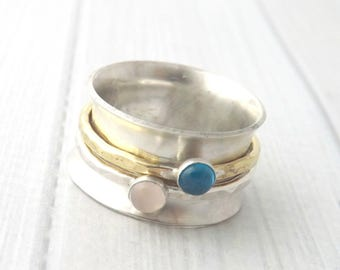 spinner ring-birthstone spinner ring- spin ring-fidget ring- personalized spinner ring-gemstone spinner ring-personalized ring