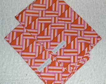 RETRO YSL - Yves Saint Laurent Op Art Pillowcases - 70s Pink Orange Geometric Rare Designer