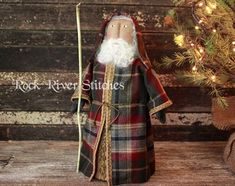 Primitive Old World Santa Pattern, Christmas Folk Art Santa Doll Digital PDF Pattern
