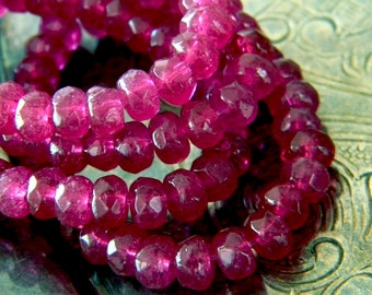 Fuchsia Pop (30) -Czech Glass Rondelles 5x3mm