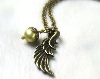 Angel Wing Pearl Necklace, Freshwater Wasabi Pearl Drop, Antique Brass Oval or Rollo Chain, Delicate Angel Charm Jewelry