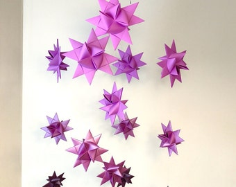 Origami Paper Star Mobile -'Milky Way' Ombre Magenta