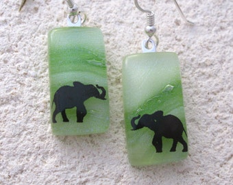 Elephant Earrings, Dangle Drop Earrings, Dichroic Glass Jewelry, Elephant Jewelry, Fused Glass Jewelry, Fused Glass Earrings,  111116e100