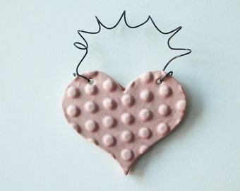 Pale Pink ornament - one ceramic clay heart - handmade, ready to mail
