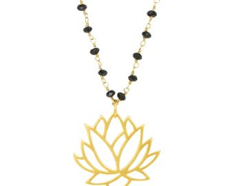 Lotus Flower Pendant Necklace, Mothers Day, Graduation, Black Spinel Gemstones, Gifts for Her, Yoga-Inspired, Inspirational