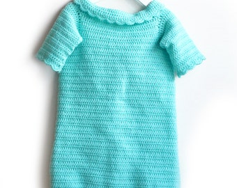 Aqua Baby Snuggie. Crochet Car Seat Travel Blanket With Arms. Wearable Aqua Baby Blanket With Sleeves. Sleeved Baby Afghan. 12 to 18 Months