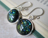 Prism Collection - Black Opal  - Color Changing Glitter Earrings in Silver