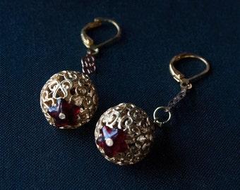 Gold Filigree Beaded Earrings / Hollow filigree beaded earrings / Merlot glass beads
