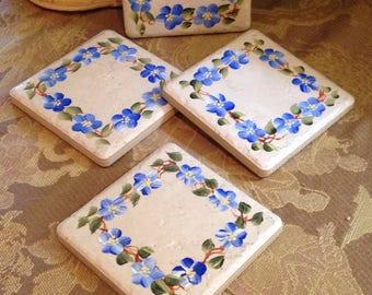 Hand-Painted Tile Beverage Coasters with Blue Pansies