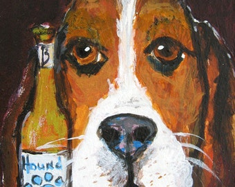 Basset Hound Dog with Beer 5 x 7 Art Print - Funny Dog Art - Higgins the Basset Hound Painting - Dog Lover Gift - Basset Hound Gift