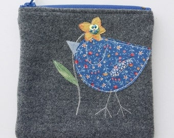 Zippered purse pouch gray wool fabric with rawedge applique birdie bird flower