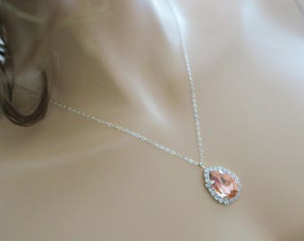 Bridesmaid Necklace Blush Crystal Sterling Silver Wedding Jewelry Bridesmaid Gift Necklace Peach Drop Rhinestone Bridal Necklace Rose Gold