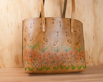 Large Leather Tote Bag - Handmade Purse in the Seeds Pattern - Flowers in Yellow, Pink, Green and Antique Brown - Large Leather  Handbag