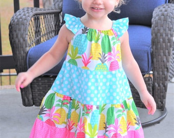 Girls Summer Dress - Girls Dress - Girls Beach Dress - Little Girls Pineapple Dress - Girls Beach Outfit - Vacation Dress - Summer Dress