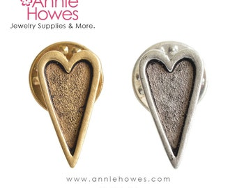 Heart Lapel Pin or Tie Tack in your choice of Antique Silver or Antique Gold Plating. made in the USA.