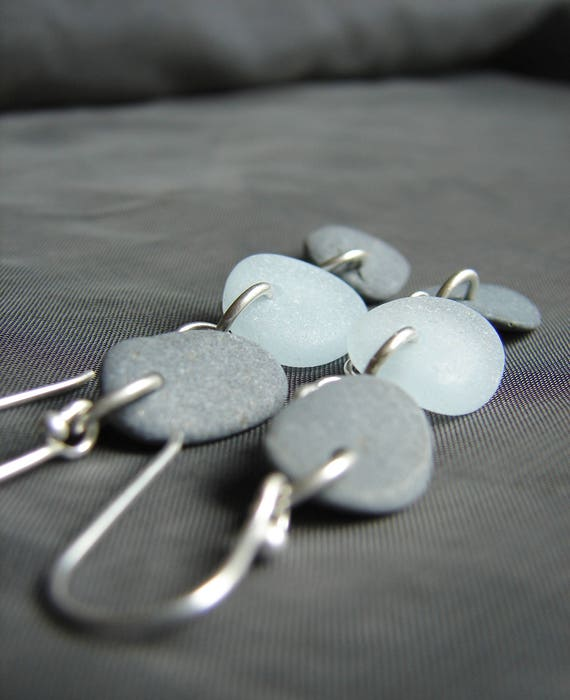 Beach Days sea glass and beach pebble earrings