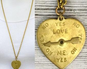 Gold heart necklace spinner charm *BULK DISCOUNT*  Love Meter. arrow.  metals. hipster. boho. steampunk. cute. sweet. valentine A9