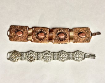 Destash SALE! Mid century & Art deco Bracelet 2 pc  Lot chunky bracelet/ copper silver mix metals e159