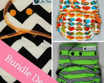 Surprise-Me Bundle of 3 Hybrid Fitted Cloth Diapers - Three-Pack Made to Order Hybrid Fitted Diapers Nappies - Save Money - Discounted Set