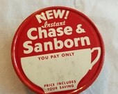 vintage advertising chase and sanborn coffee jar lid metal tin regular mouth mason grocery packer red white screw cap grocers store instant
