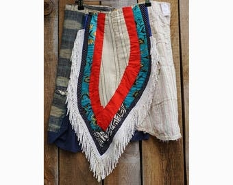 """Summer skirt """"Patchwork and Fringes"""" size 40 recycled materials"""