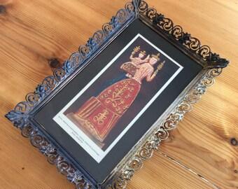 Lithograph Print in Dark Metal Filigree Frame, Madonna & Child. Vintage Czech / Slovakian Religious Art. European Folk Art. Gaudy.