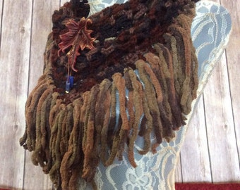 Dark Autumn Maple cowl... knit crocheted fringed yarn soft scarf leather tie bohemian boho