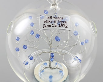 45th Anniversary Gift Personalized Ornament Idea with Sapphire Swarovski Crystal Elements on Silver Wire Rush Available