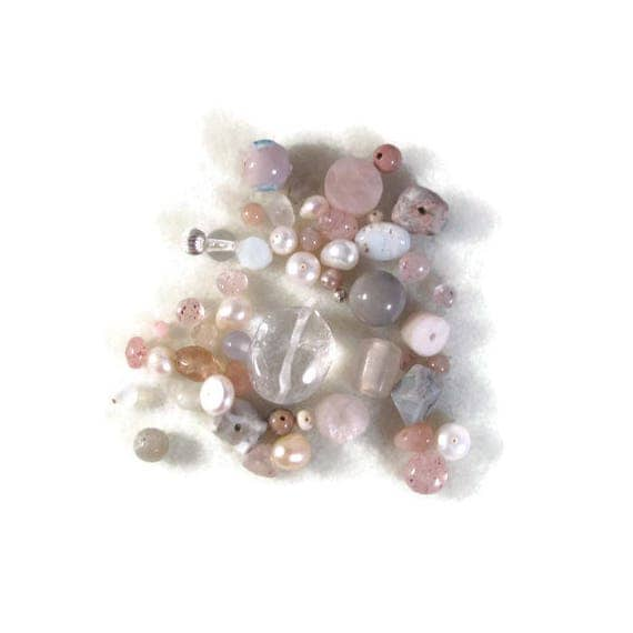 Gemstone Bead Mix, Pink, White, Cream Gemstone Grab Bag, 50 Beads for Making Jewelry, Assorted Shapes and Sizes (L-Mix7d)