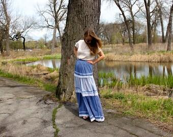 70's Maxi Floral Tiered Prairie Skirt in Colorblock Blues . High Waisted Maxi Skirt . Small or Medium . Handmade Vintage . Prairie Revival