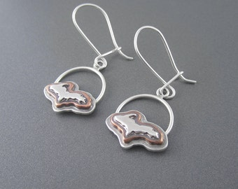 Handmade Elevated Upper Peninsula Profile Mixed Metal Sterling Silver, Copper Earrings