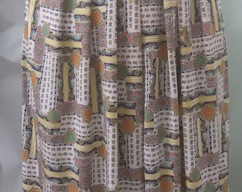 Vintage Printed Yellow Skirt with Belt Size 14