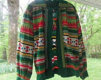 Vintage Seminole Patchwork Jacket - Colorful Cotton Indian Jacket - Collectible Seminole Art