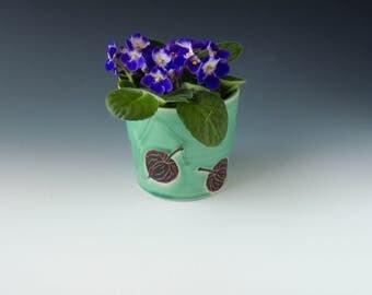 Chinese Lantern Clay Planter - green porcelain ceramic flower pot or utensil holder with seedpods - wheel thrown handmade pottery
