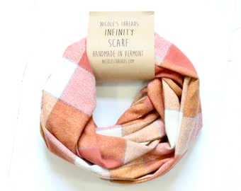 Infinity Scarf - Plaid - Flannel - Oversized - Shades of Autumn Orange - Warm - Winter- Cozy - Unisex - Gray