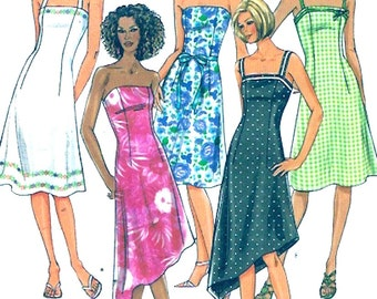Summer halter dress Strapless Bridesmaid frock Modern casual sewing pattern Butterick 4183 Size 6 to 10 Uncut