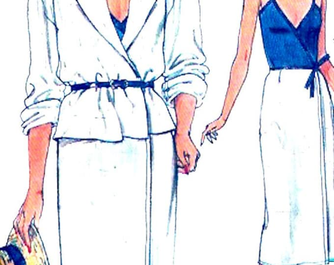 Vintage Wrap dress jacket casual chic day evening wear cocktail dress sewing pattern Vogue 8644 Bust 36 Uncut