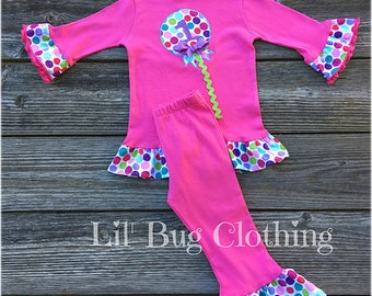 Lollipop And Dots Outfit, Personalized Lollipop Tee And Pant, Birthday Candy Land Outfit, Candy Land Girl Outfit