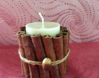 Cinnamon Candle Holder, Soy Pillar,