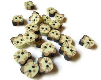 20 Tan Cat Head Beads Animal Beads Polymer Clay Beads Miniature Anmals Cat Beads Kawaii Beads Zoo Beads Jewelry Making Beading Supplies
