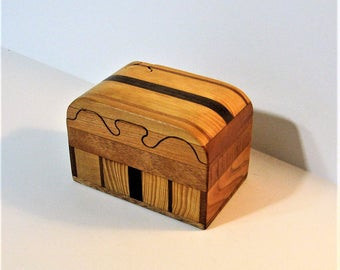 Puzzle Box Made Of Four woods