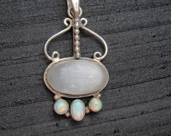 Sterling Silver Pendant with Bezel Set Satin Spar Stone and Opals  - 1585D