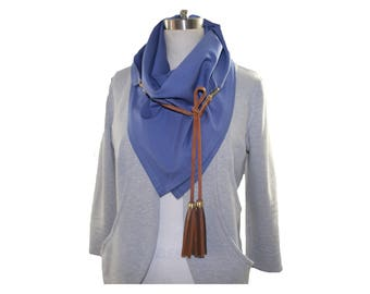 Handmade Triangle Scarf with Removable Leather Tassels